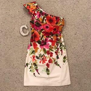 Eliza J One Shoulder Floral Sun Dress! Size 4